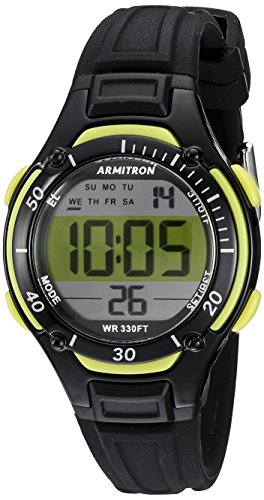 armitron-womens-45-7062lgn-lime-green-accented-digital-chronograph-black-resin-strap-watch