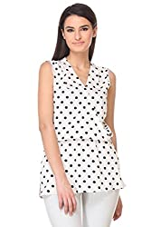 KAARYAH - White Polka Dot Sleevless Relaxed Fit Top