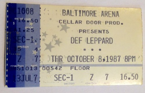 Def Leppard Baltimore 10/8/87 Ticket Stub (Def Leppard Tickets compare prices)