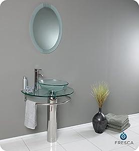 Fresca Attrazione Modern Glass Bathroom Vanity with Frosted Edge Mirror
