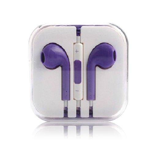 Purple - Headphones W/ Mic & Vol Contrl Ear Pod Headset For Iphone/Ipod/Ipad