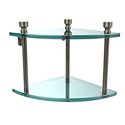 Allied Brass FT-3-PEW Double Corner Glass Shelf Antique Pewter