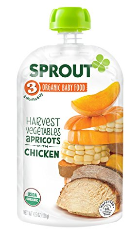 Sprout Organic Foods Stage 3 Pouches, Harvest Vegetables & Apricot with Chicken, 4.5 Ounce (Pack of 5) - 1