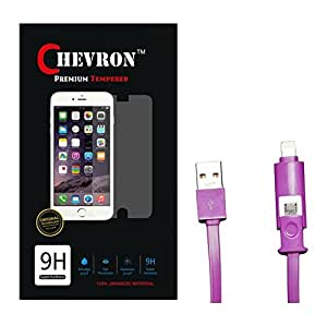 Chevron 0.3mm Tempered Glass Screen Guard Protector For Moto E (1st Gen) With 2 In 1 Data Cable (Micro USB & Lighting)