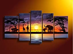 Sunset river giraffe elephant wall art on quality canvas painting of 5