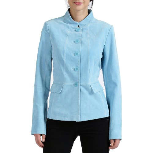 BGSD Women's Stand Collar Suede Leather Jacket - Blue S