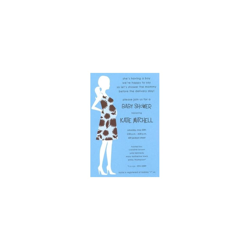 Blue Mom, Custom Personalized Baby Shower Invitation, by Inviting Company