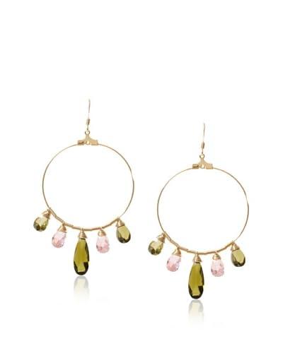 Susan Hanover Designs Pink & Green Chandelier Hoop Earrings