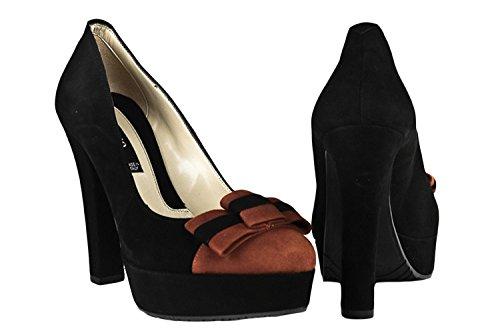 Decoltè plateau scarpe ALBANO bicolore donna N.38 nero rame 2559 camoscio X208