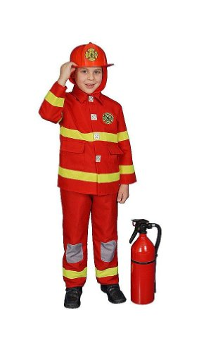 Fire Fighter Kids Costume deluxe Red - TODDLER (Deluxe Firefighter Costume)