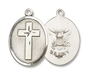 """Sterling Silver Cross Military Medal Armed Forces US Navy Medal with 24"""" Stainless Silver Chain in Gift Box"""