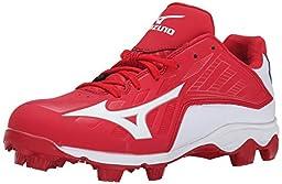 Mizuno Men\'s 9 Spike ADV Franchise 8 Baseball Cleat, Red/White, 8 M US