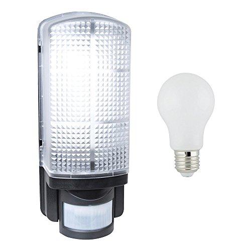 Außenwandleuchte mit LED Leuchtmittel 8W fast 60W E27 360° inkl. Bewegungsmelder schwarz