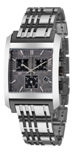Burberry Mens BU1561 Square Grey Chronograph Dial Watch