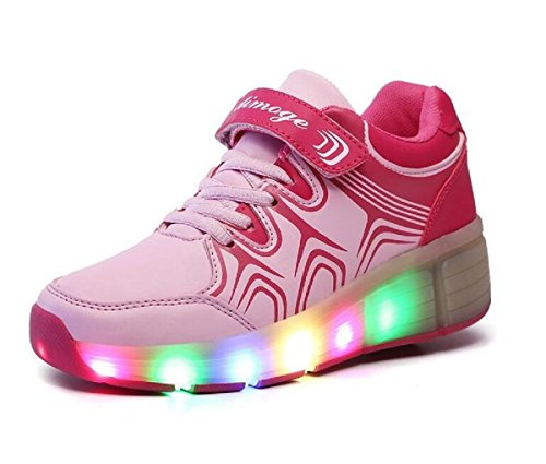 Joney LED Sneakers Heelys Wheel Roller Schuhe Sport Schuhe Kid Youth Girl Boy Fashion Light Up Schuhe, Pink - rose - Größe: 38 EU