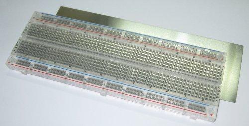 BB830T Transparent Solderless Plug-in BreadBoard, 830 tie-points, 4 power rails, 6.5 x 2.2 x 0.3in (165 x 55 x 9mm)