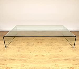 Modern Clear Bent Glass Low Long Coffee Table Kitchen Home