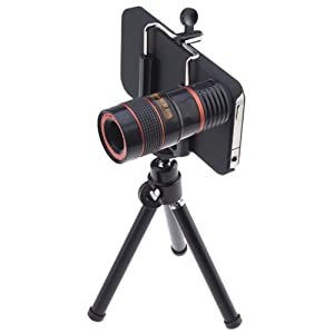 Long Focal 8x Optical Zoom Telescope Lens for Apple iPhone 4 4G Black (Include Universal Holder, Mini Tripod, Cleaning cloth, Black Bag and Case)