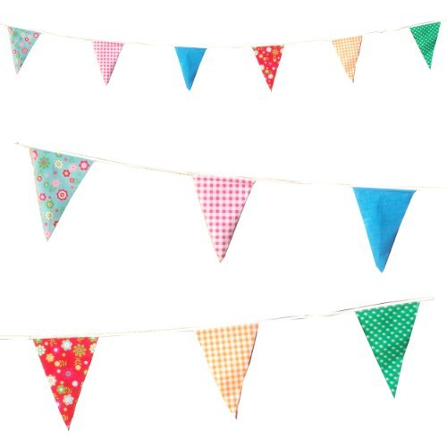 20 Plastic Flags 10 Metres long Garden Party Vintage Bunting Floral Dots Check Flags [C1003]
