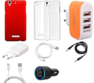 NIROSHA Cover Case Charger USB Cable car Combo for YU Yureka Combo