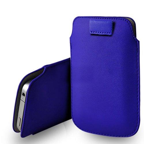 Huawei Ascend G620s Blue Leder Pull Tab Tasche Tasche & Poliertuch