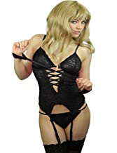 Yummy Bee Lingerie Teddy Cami Babydoll Set Suspenders + Lace Stockings Handcuffs Plus Size 6 - 22 (Black, 12)