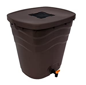 Fiskars 26.5 Gallon Saguaro Rain Barrel, Chocolate Brown (5992) (Discontinued by Manufacturer)