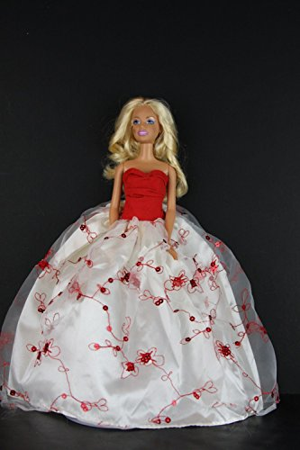 Elegant White Gown with Red Accents and Sequins Made to Fit the Barbie Doll - 1