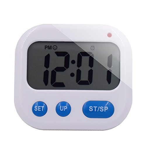 Maleap Mini Portable Luminous Digital LCD Display 3 Groups Countdown Timer / Clock Alarm / Vibration Stopwatches with Lock Function White / Blue