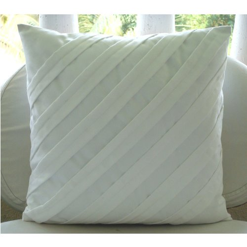 Contemporary White - 26X26 Inches Square Decorative Throw White Suede Euro Sham Covers With Pintucks front-1022854