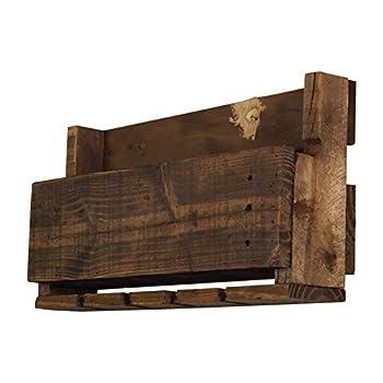 del Hutson Designs- The Little Elm Wine Rack, USA Handmade Reclaimed Wood, Wall Mounted, 4 Bottle 4 Long Stem Glass Holder (Ebony)