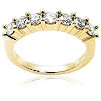 14k Yellow Gold 7-Stone Diamond Ring (1 cttw, H Color, SI2 Clarity), Size 8