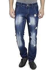 SAVON Mens Slim Fit Blue Distressed Denim Jeans For Men With Elegant Star Shapes