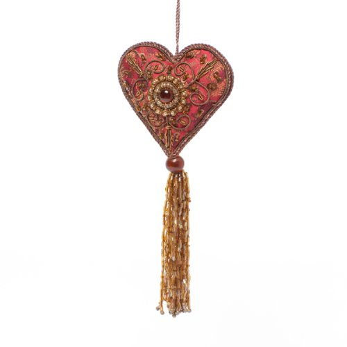 Bold Red Heart with Long Tassel Ornament