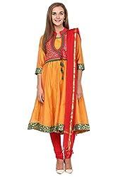 Trishaa by Pantaloons Women's Straight Churidar Kurta Dupatta ( 205000005644854, Orange, X-Small)