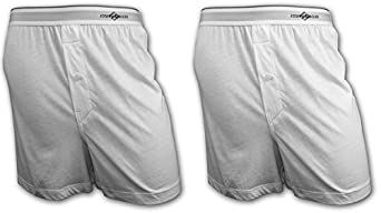 Joseph Abboud 2 Pack Button Fly Cotton Men's Knit Boxers (White -S)