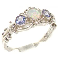 buy 925 Solid Sterling Silver Natural Fiery Opal & Tanzanite English Georgian Style Trilogy Ring - Size 6 - Finger Sizes 4 To 12 Available - Perfect Gift For Anniversary, Engagement, Wedding, First Child