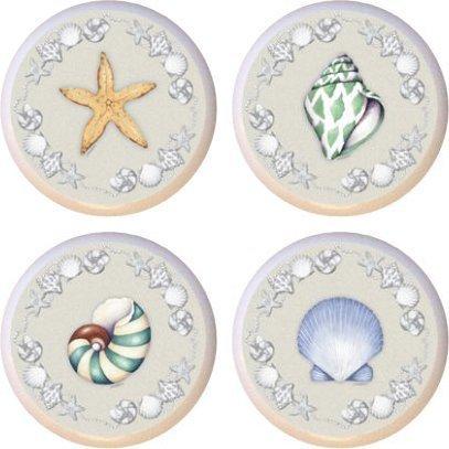 Set of 4 Ceramic Knobs - Seashells Galore (Seashell Door Knobs compare prices)