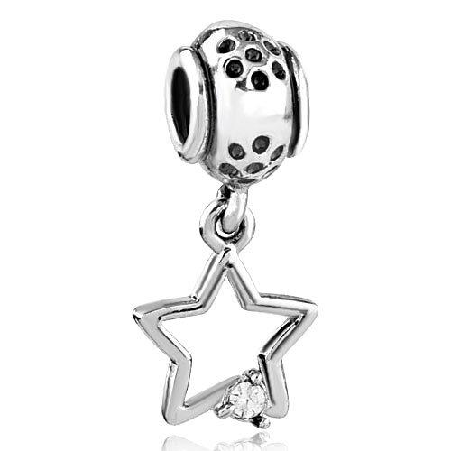 Pugster Charm Dangle Open Crystal Star European Beads Fit Pandora Chamilia Biagi Charm Bracelet