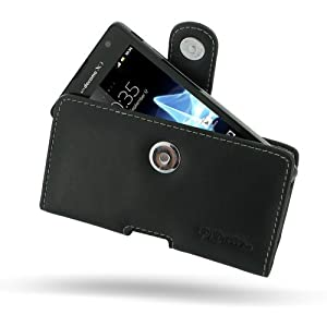 Sony Xperia TX Leather Case - LT29 - Horizontal Pouch Type (Black) by Pdair by PDair