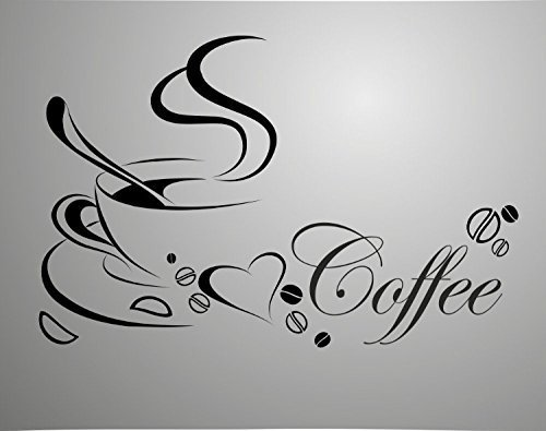 Coffee Cup with English Word Double Sided Removable Wall Vinyl Sticker Decals Decor Art Bedroom Design Mural Quotes for Window Glass Door