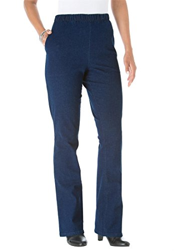 Roamans Women's Plus Size Tall Relaxed 2 Pocket Bootcut Stretch Legging