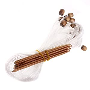 12 Sizes Afghan Tunisian Carbonized Bamboo Crochet Hooks 3.0-10.0mm--With Adjoined Plastic Cable for Maximum Project Flexibility