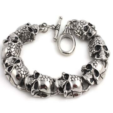 15MM STAINLESS STEEL SILVER CHOPPER MOTORCYCLE SKULL & BONES BRACELET (8.5 Inches)