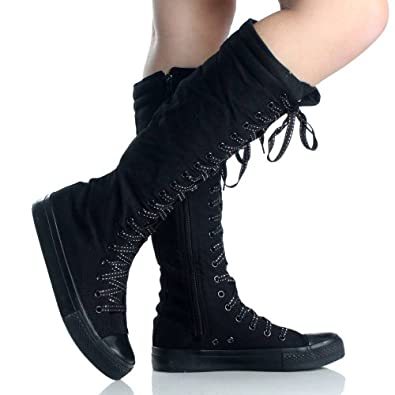 38ed0ce54d78 Canvas Sneakers Ladies Flat Tall Punk Womens Skate Shoes Lace up Knee High  Boots
