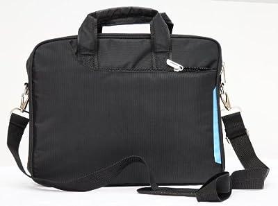 "Laptop notebook slim shoulder bag messenger lightweight carry case Apple Macbook 13"" 13.3"" travel school business-Black by L&X"