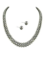 Sri Jagdamba Pearls Gold Plated, Metal, Pearl & Silver Pendant For Women -Grey, Gold & Silver