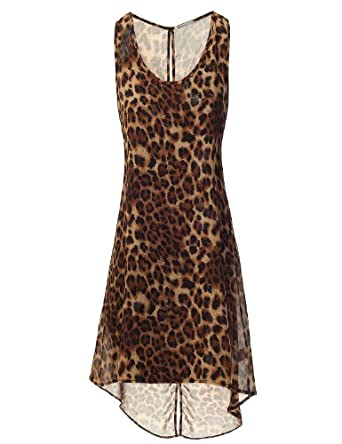 9XIS Damen aermellose Bluse Kleid vorn kurz hinten lang mit Leoparden ...