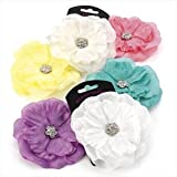 H20348 White Crystal Flower Clip Hair Accessory Wedding Party Prom