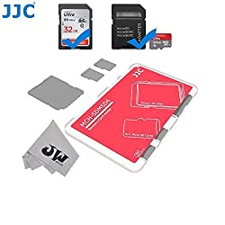 JW MCH-SDMSD6CN Credit Card Size Durable Lightweight Portable Memory Card Case Holder Protector With Writable Label For 2 SD Cards & 4 Micro SD Cards + JW Cleaning Cloth